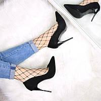Туфли женские Selesta черный замш, лодочки