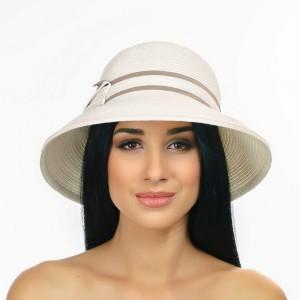 Изысканная шляпа  бежевая с кофейным бантом