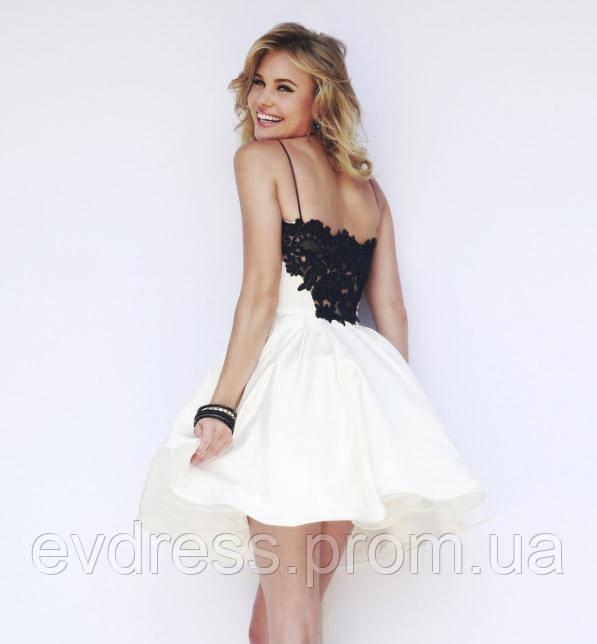 724ba20b86d6 Белое Пышное Мини Платье Выпускное MK-522-3 - Интернет-магазин ev-