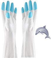 Перчатки резиновые хозяйственные прочные универсальные Дельфин
