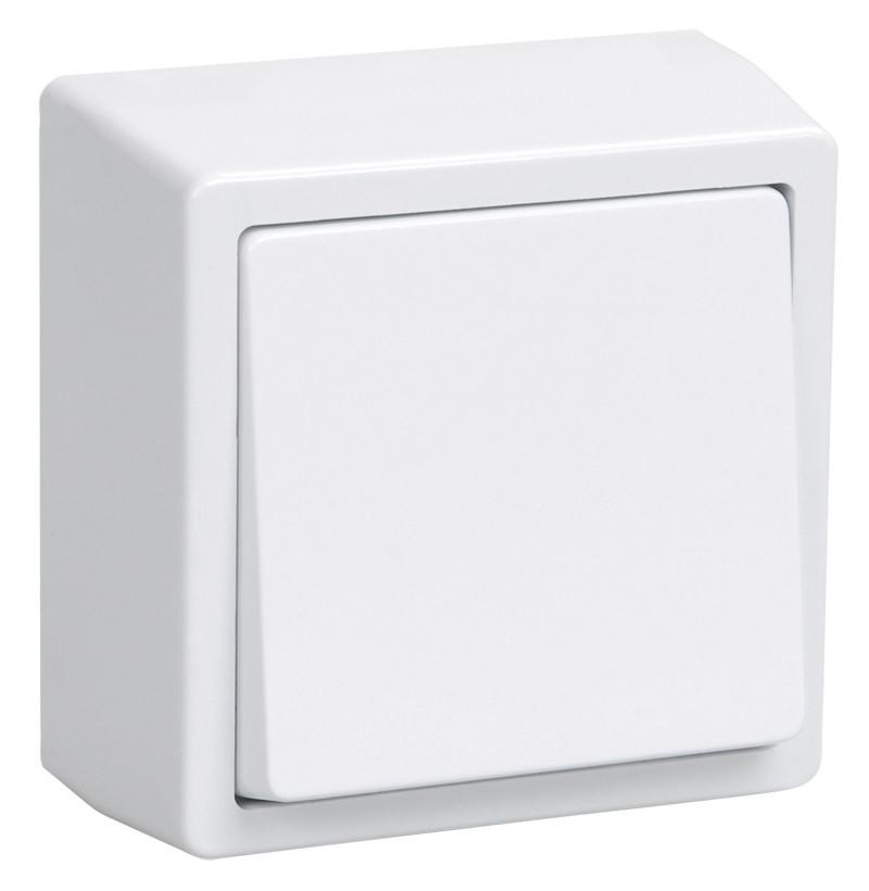 ВСк20-1-0-ББ Выключатель кнопочный 1-клав. для открытой установки (белый) БРИКС