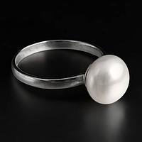 Жемчуг белый Ø9, серебро 925, кольцо, 415КЖ