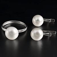 Жемчуг белый Ø9, кольцо и серьги комплект, 027КМЖ