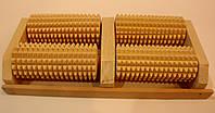 Массажер деревянный для ног на 4 валика