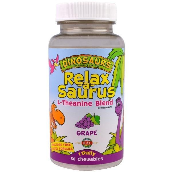 KAL, Динозавры, Relax-a-Saurus, L-теанин, виноград, 30 жевательных таблеток