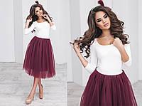Женский красивый костюм с фатиновой юбкой (5 цветов)