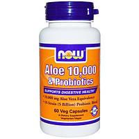 Now Foods, Aloe 10,000 & Probiotics, 60 Veg Caps