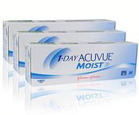 Комплект 3уп - 90линз 1 Day Acuvue Moist, однодневные Контактные линзы