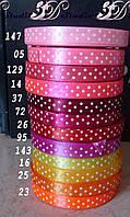 Лента атласная в горох цвет №14 (неоновый розовый) шириной 1 см