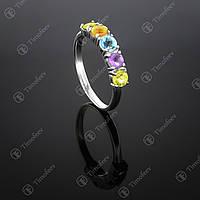 Серебряное кольцо с самоцветами. Артикул П-157