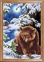 Схема для вышивки бисером Медведь под елкой