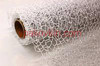 Декоративная флористическая сетка с серебряным напылением POLY NET - Белая