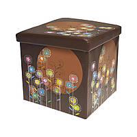 Пуфик детский коричневый цветы Одуванчик из экокожи 38*38*38 см