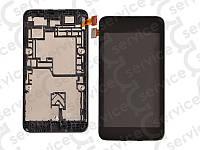 Дисплей для Nokia 530 Lumia + touchscreen, чёрный, с передней панелью