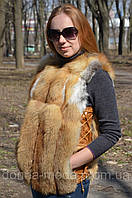 Женский  жилет из меха рыжей лисы.