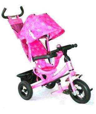 Детский трехколесный велосипед Azimut Trike  BC-17B розовый надувные колеса, фото 2