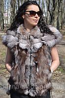 Женский  жилет из меха чернобурой лисы., фото 1