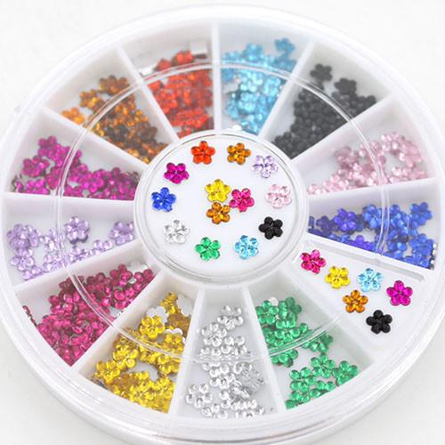 Стразы разноцветные, цветок  200 шт, 2 мм, 12 оттенков