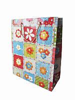 Подарочный пакет Цветные цветы 330х270 (Подарочные пакеты)