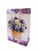Подарочный пакет Фиолетовый букет 300х200 (Подарочные пакеты)
