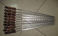 Шампур плоский с деревянной ручкой 750*3*12 мм