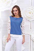 Блуза джинс-гипюр рукава 44,46,48р, фото 1
