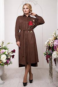 Платье-рубашка из искусственного замша, размеры 54-60