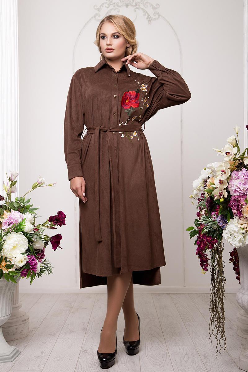 Женское платье-рубашка из искусственного замша, размеры 54-60