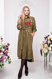 Длинное платье рубашка из эко замши, размеры 54-60