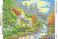 Схема для вышивания бисером - Дом у речки
