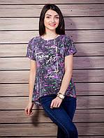 Стильная женская футболка с жемчугом цвет черный p.42-48 VM1902-1