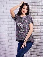 Стильная женская футболка с жемчугом цвет черный p.44-46 VM1902-1