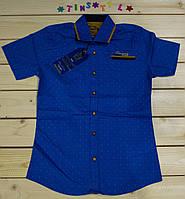 Стильная синяя рубашка ,шведка  для мальчика рост 134 см, фото 1
