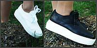 Стильные женские черные/белые туфли из натуральной кожи  на толстой подошве. АРТ-0622
