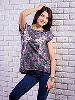 Женская футболка с комбинированной спинкой Птички цвет черный p.42-48 VM1904-1