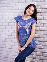 Женская футболка с комбинированной спинкой Птички цвет синий p.42-48 VM1904-2