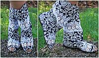Модные цветные тканевые женские полусапожки с открытым носком и кружевными вставками. Арт-0161