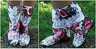 Модные цветные стильные полусапожки с открытым носком (жатка). Арт-0624