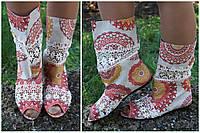 Модные цветные стильные льняные женские тканевые полусапожки с открытым носком и кружевом. Арт-0167
