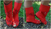 Стильные молодежные красные женские сапожки из эко-кожи с открытым носком и кружевными вставками. Арт-0163, фото 1