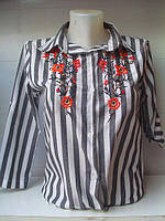 Рубашка женская полоска цветы опт