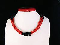 Кольє з корала зі вставками кришталю, рис, фото 1