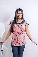 Розовая блуза в сердечки из штапеля
