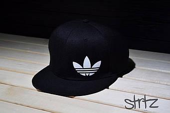 Снепбек Adidas черный белый лого (люкс копия)