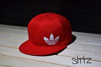 Снепбек Adidas красный белый лого (люкс копия)