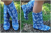 Женские весенне/осенние голубые стильные котоновые сапожки. Арт-0638