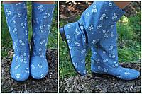 Женские весенне/осенние голубые стильные котоновые сапожки. Арт-0639