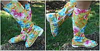 Женские стильные яркие высокие сапоги с открытым носком  Арт-0643