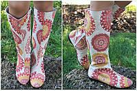 Женские стильные цветные льняные высокие сапоги.  Арт-0644