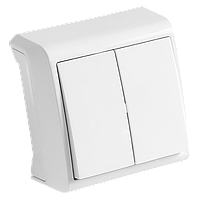 Выключатель двойной накладной белый VIKO Vera